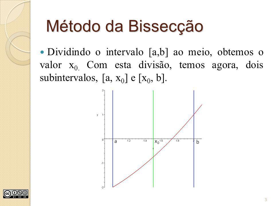 Método da Bissecção Dividindo o intervalo [a,b] ao meio, obtemos o valor x0. Com esta divisão, temos agora, dois subintervalos, [a, x0] e [x0, b].